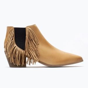New Zara tan leather fringe pull on booties
